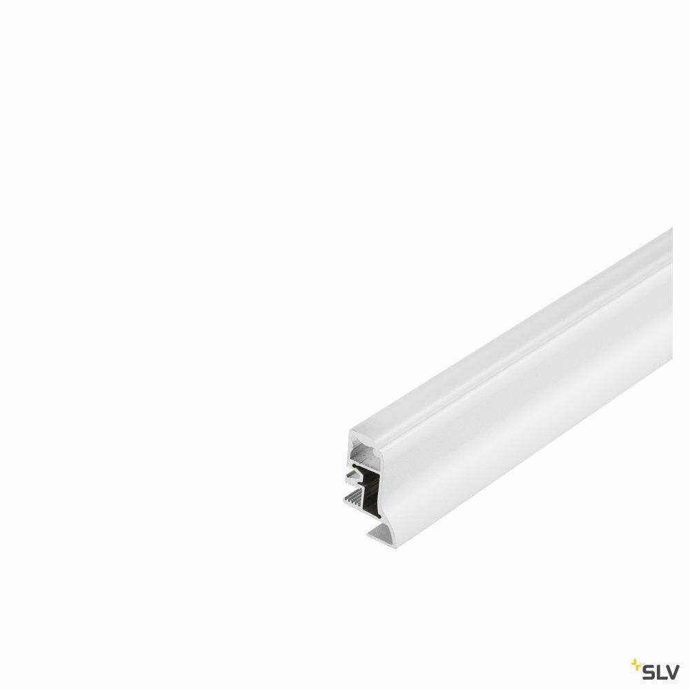 GLENOS, Fußleisten-Profil, weiß matt, 1 m, mit semi-transparenter Acrylabdeckung