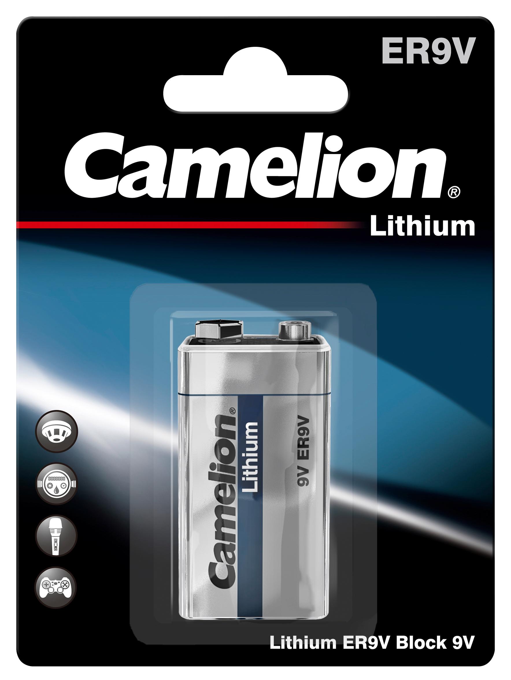 Block-Batterie Camelion Lithium, 9V, Typ ER9V, 1.200mAh, 1er-Blister