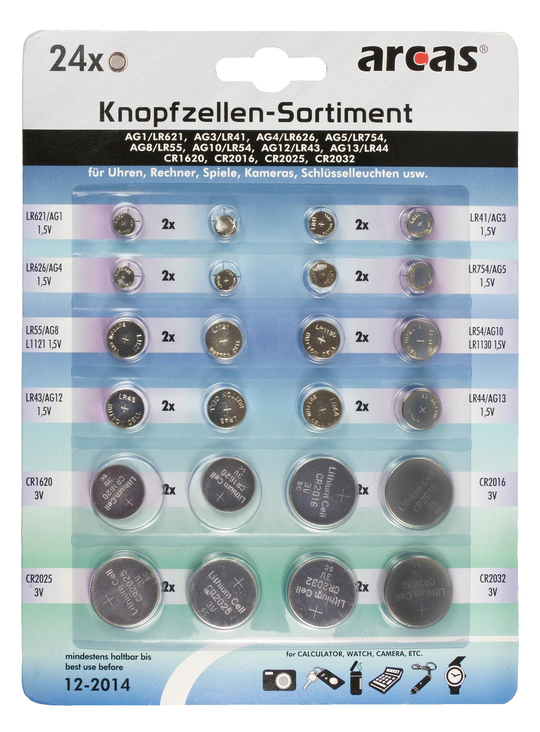 Knopfzellen-Sortiment Alkaline und Lithium, 24-teilig