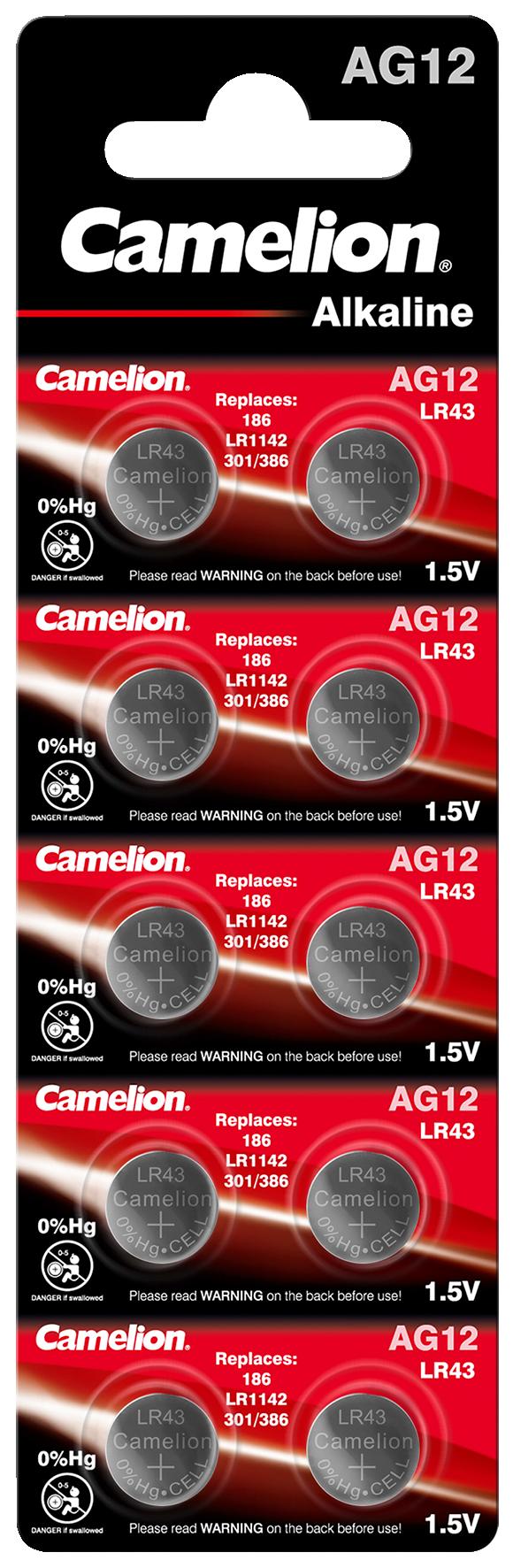 Knopfzelle CAMELION, AG12, 1,5V, Alkaline, 10er-Blister