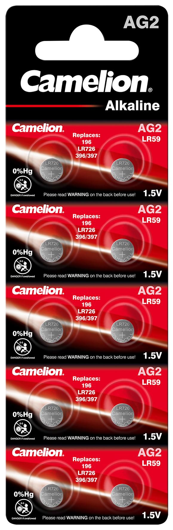 Knopfzelle CAMELION, AG2, 1,5V, Alkaline, 10er-Blister
