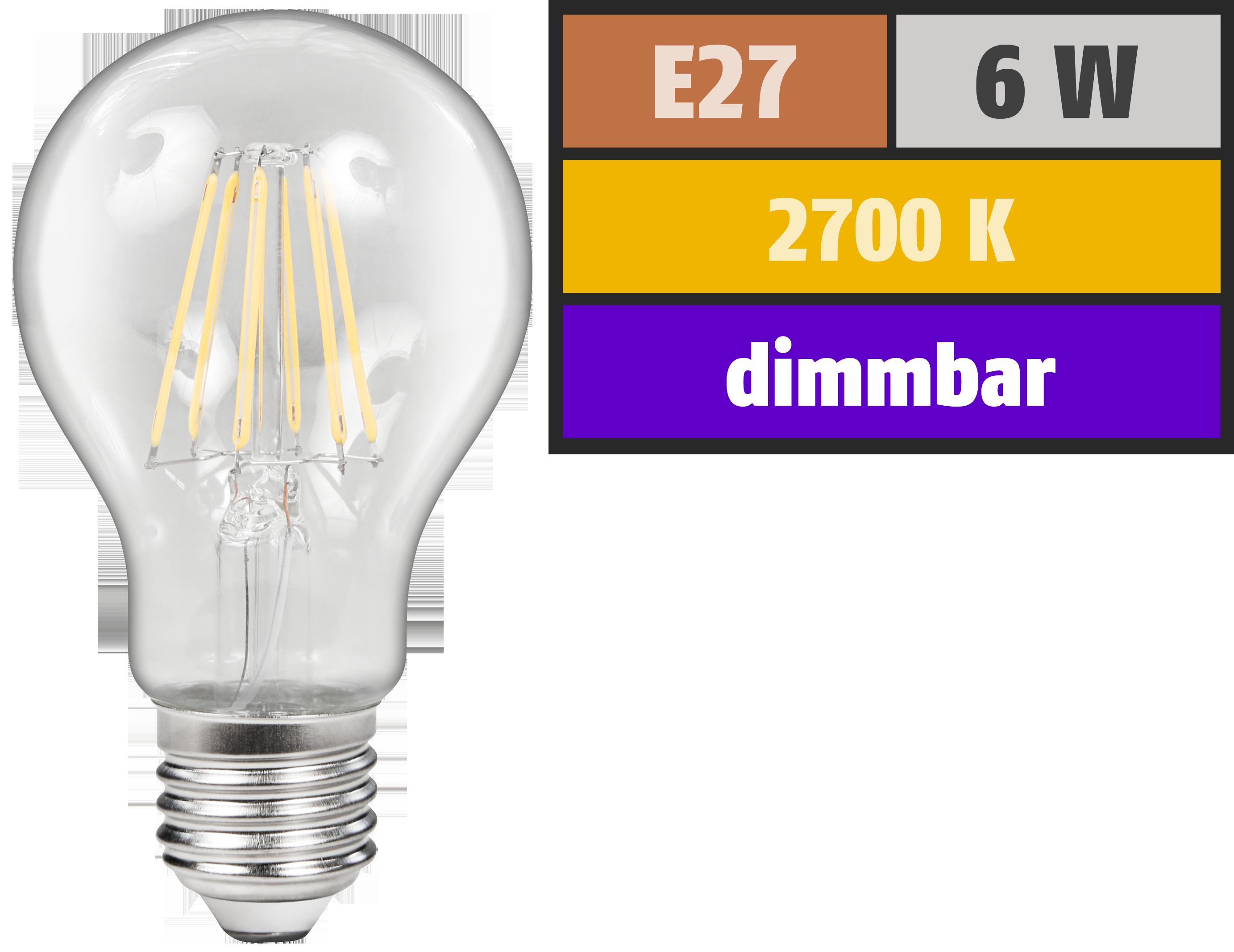LED Filament Glühlampe McShine ''Filed'', E27, 6W, 600 lm, warmweiß, dimmbar, klar