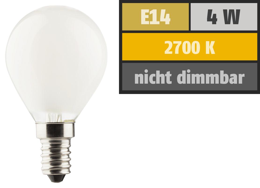 LED Filament Tropfenlampe, E14, 4W, 470lm, 2700K, warmweiß, matt
