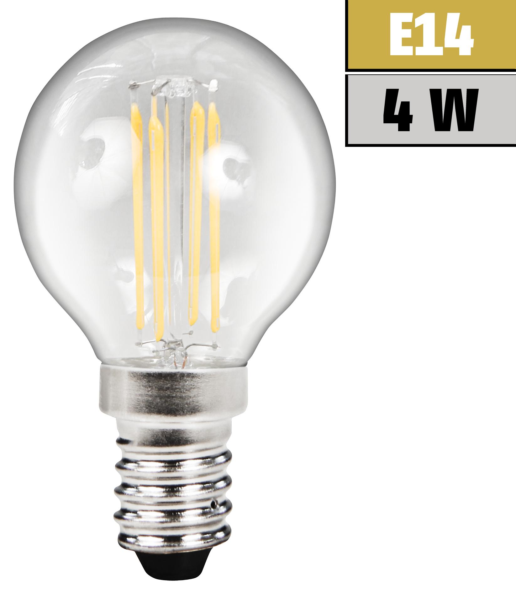 LED Filament Tropfenlampe McShine ''Filed'', E14, 4W, 470lm, warmweiß