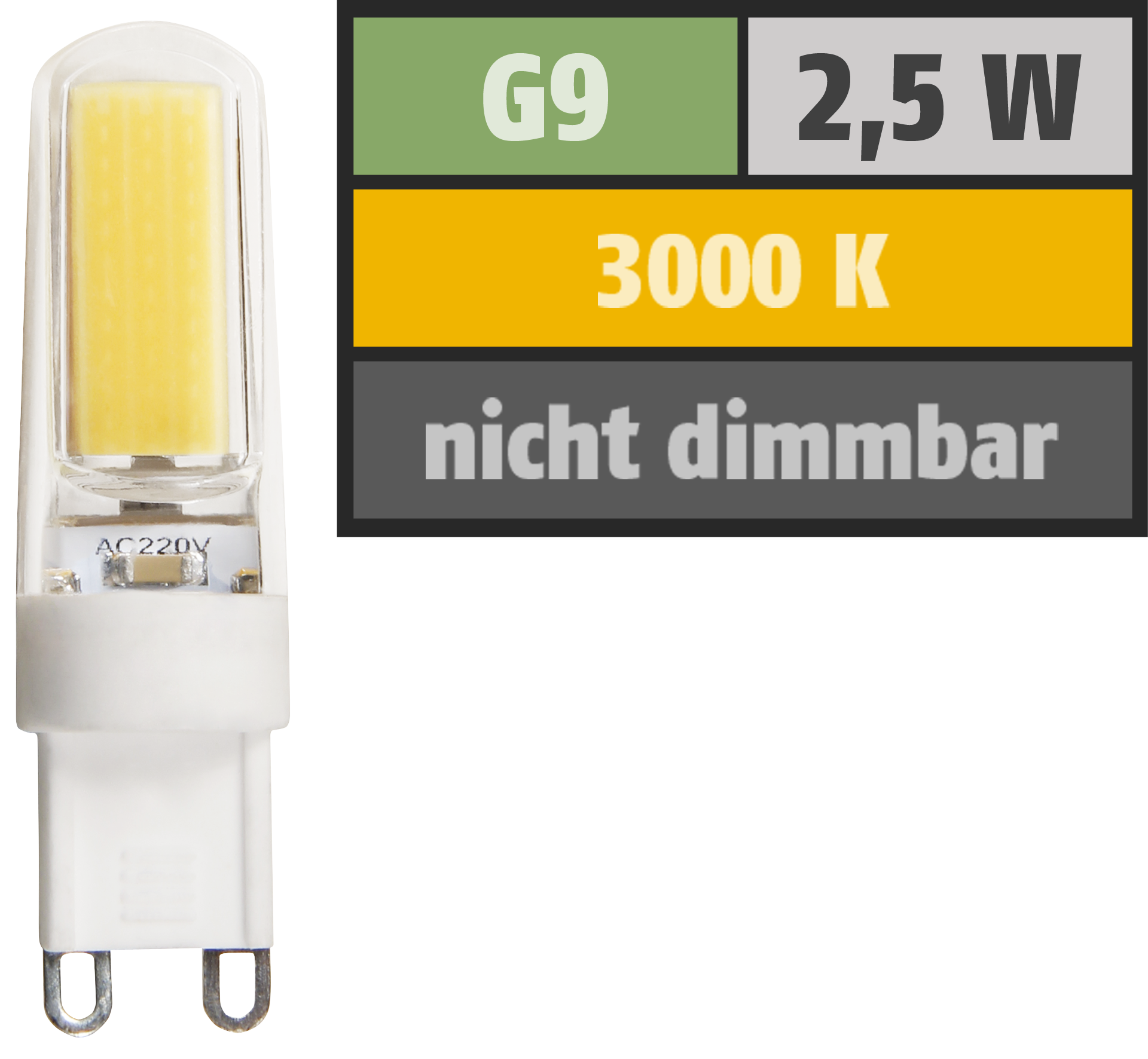 LED-Stiftsockellampe McShine ''Silicia COB'', G9, 2,5W, 260 lm, warmweiß