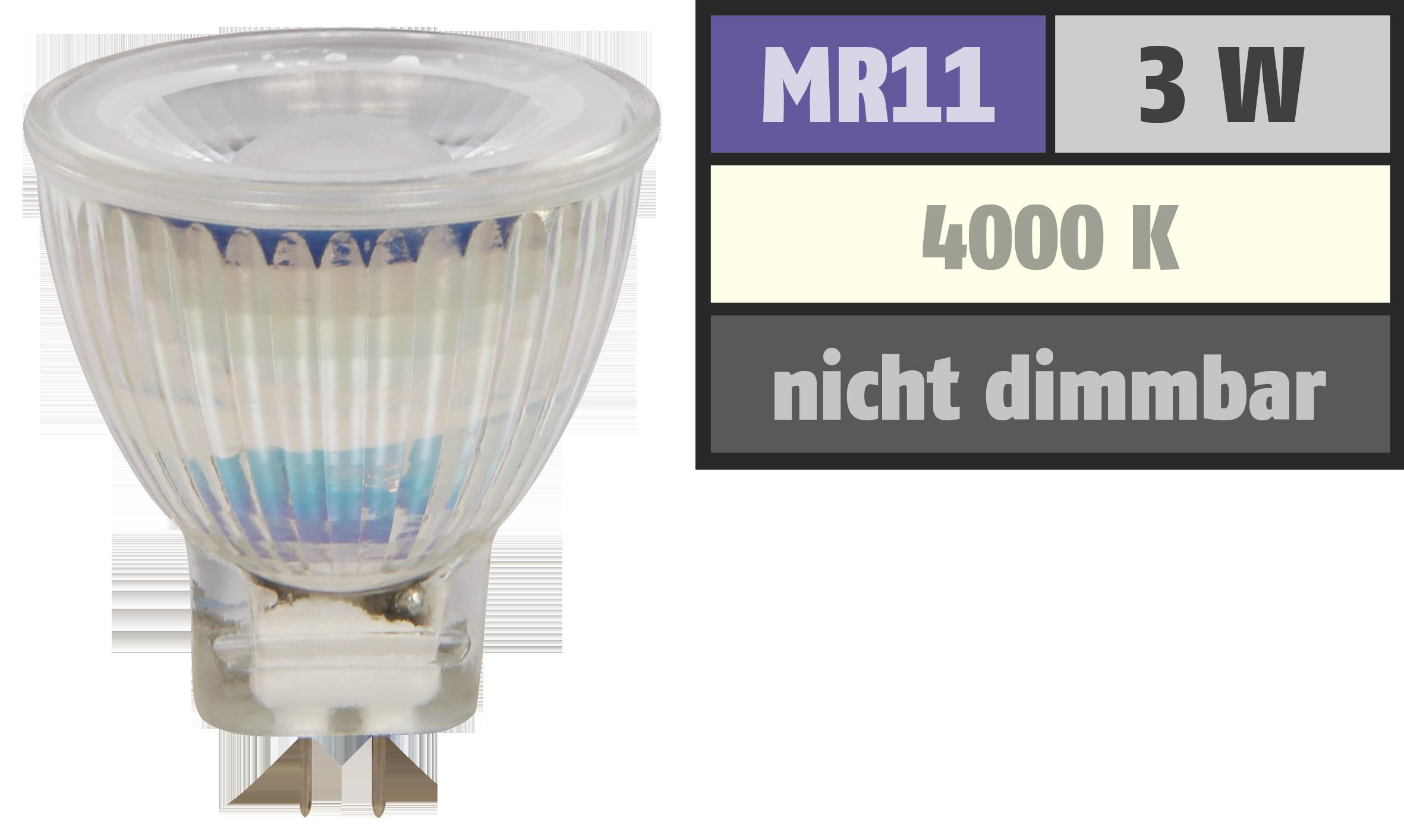 LED-Strahler McShine ''MCOB'' MR11 / G4, 3W, 250 lm, neutralweiß