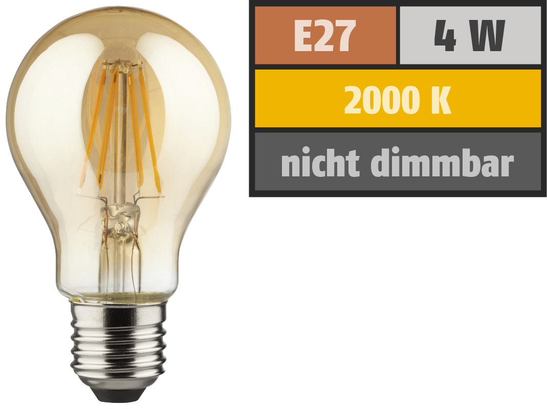 LED Filament Glühlampe, E27, 4W, 400lm, 2000K, warmweiß, gold