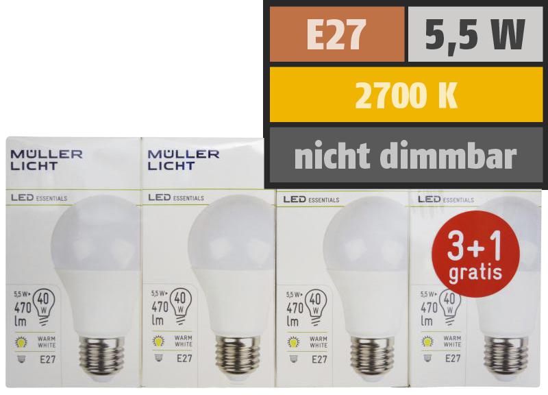 LED Glühlampe, E27, 5,5W, 470lm, 2700K, warmweiß, 3+1 Set