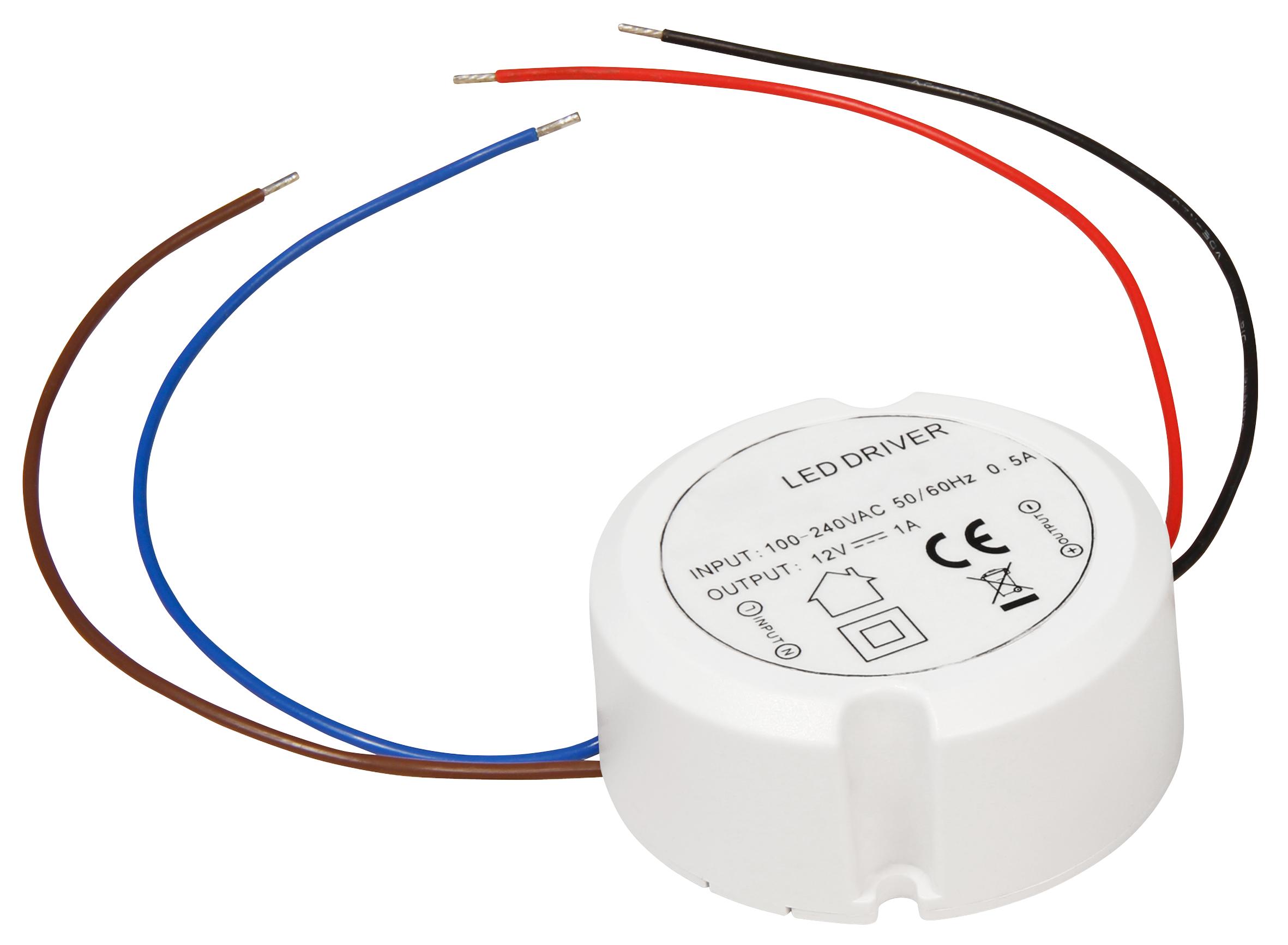 LED-Trafo McShine, elektronisch, 0,5-12W, 230V auf 12V, Ø55x23mm, rund