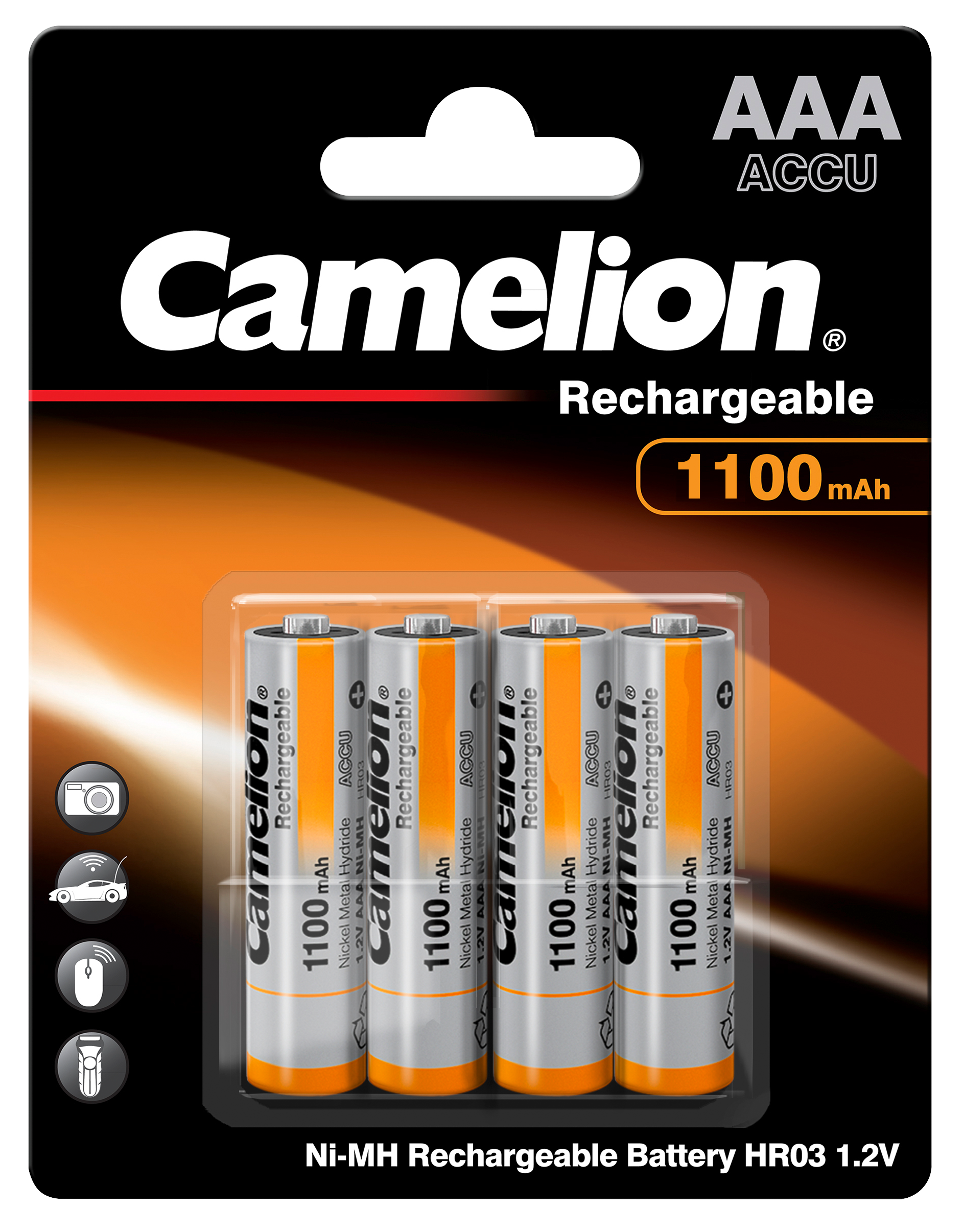 Micro-Akku CAMELION 1,2 V, 1.100 mAh, Typ AAA, NiMH, 4er-Blister