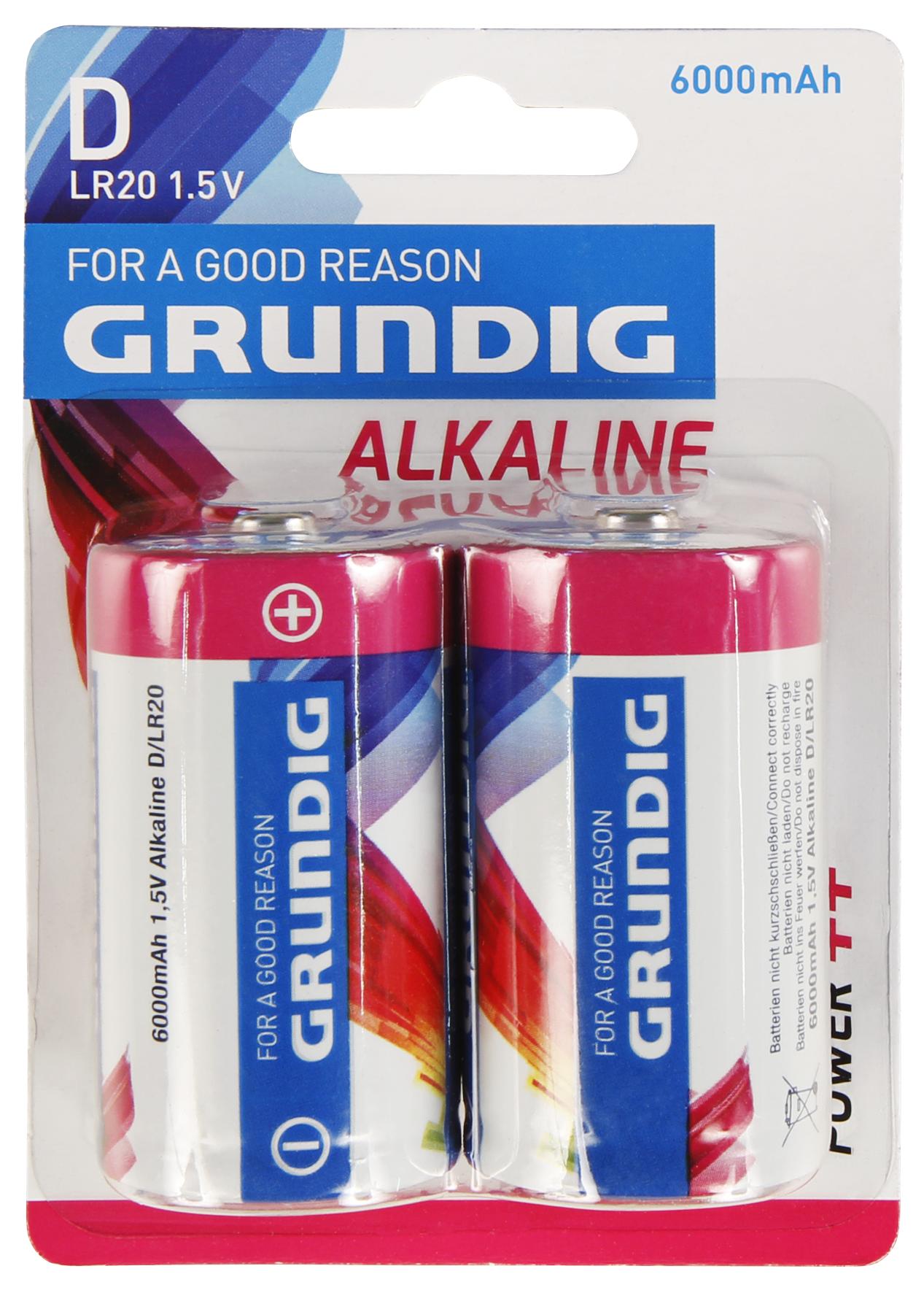 Mono-Batterie GRUNDIG Alkaline, 1,5V, Typ D/LR20, 2er-Blister