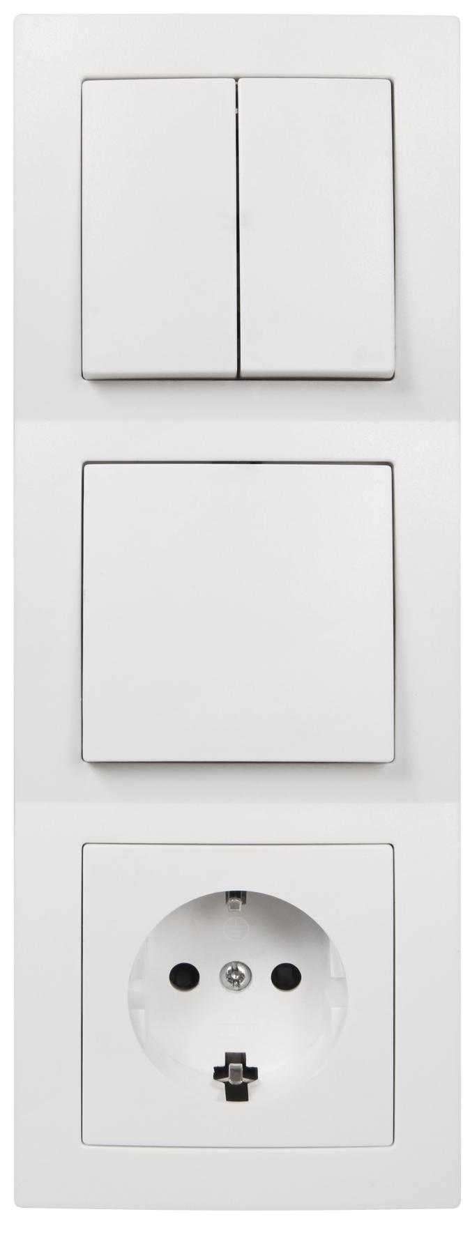 Schalter und Steckdosen Set McPower Flair ''Tür 3-fach'', weiß, 4-teilig