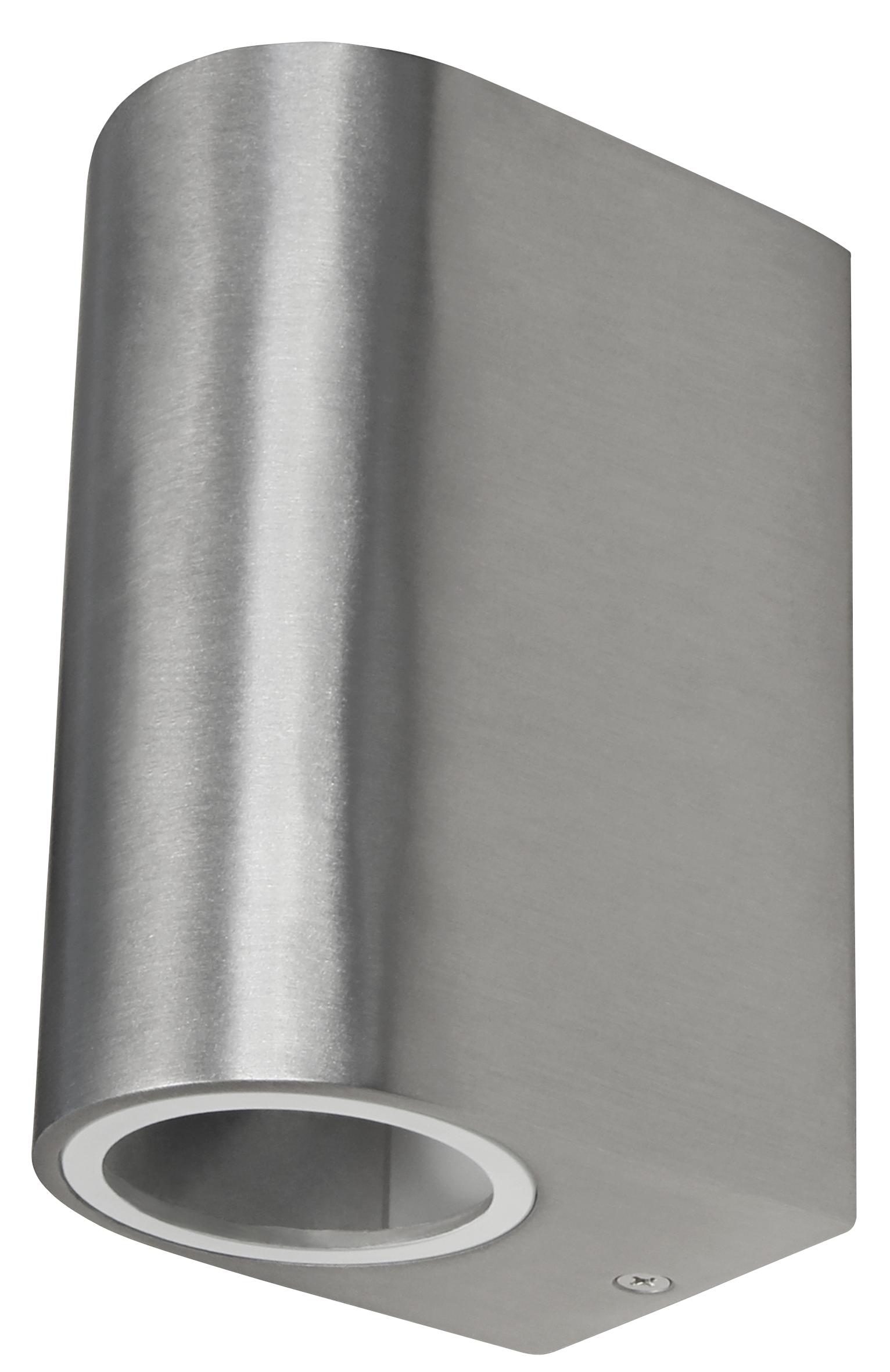 Wandleuchte McShine ''Oval-E'' Edelstahl-Optik, IP44, 2x GU10, Aluminium Gehäuse